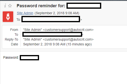 AutoCrit plaintext password email